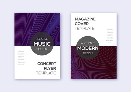 Modern cover design template set. Violet abstract lines on maroon background. Exquisite cover design. Shapely catalog, poster, book template etc.