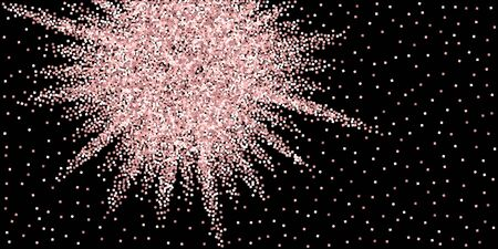Pink gold glitter luxury sparkling confetti. Scattered small gold particles on black background. Awesome festive overlay template. Charming vector illustration.