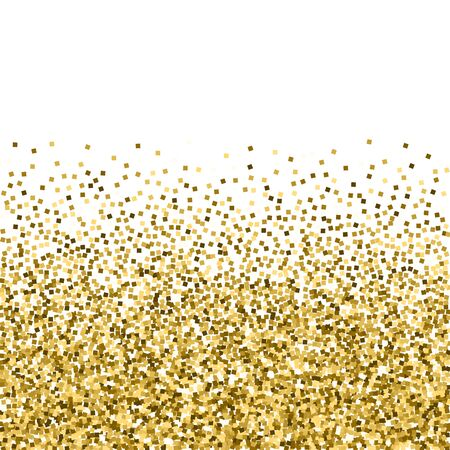 Gold glitter luxury sparkling confetti. Scattered small gold particles on white background. Amazing festive overlay template. Imaginative vector illustration. Ilustração