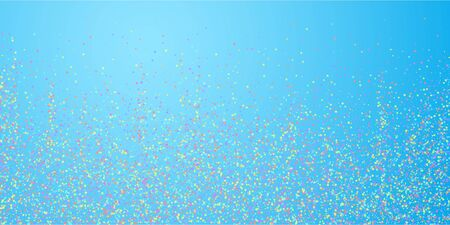 Festive confetti. Celebration stars. Colorful stars small on blue sky background. Decent festive overlay template. Grand vector illustration. Ilustração