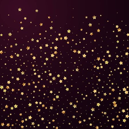 Gold stars random luxury sparkling confetti. Scattered small gold particles on red maroon background. Amazing festive overlay template. Wonderful vector illustration.