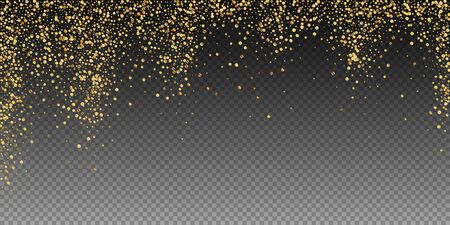Gold confetti luxury sparkling confetti. Scattered small gold particles on transparent background. Bizarre festive overlay template. Magnificent vector illustration. Ilustração