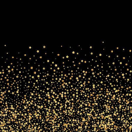 Gold stars luxury sparkling confetti. Scattered small gold particles on black background. Amazing festive overlay template. Immaculate vector illustration. Ilustração