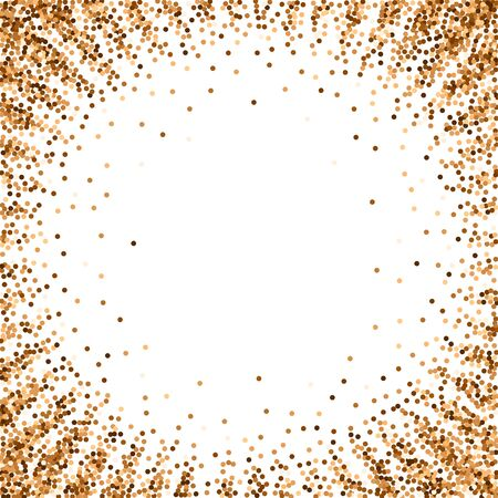 Red round gold glitter luxury sparkling confetti. Scattered small gold particles on white background. Artistic festive overlay template. Graceful vector illustration.