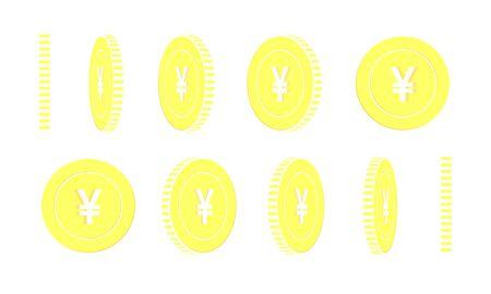 Chinese yuan rotating coins set, animation ready. Yellow CNY gold coins rotation. China metal money. Adorable cartoon vector illustration. Vecteurs