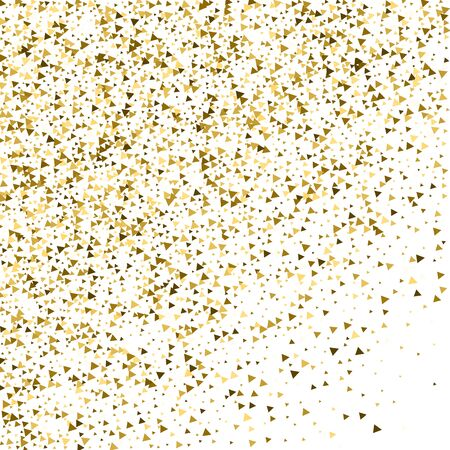 Gold triangles luxury sparkling confetti. Scattered small gold particles on white background. Amusing festive overlay template. Favorable vector illustration. Ilustração