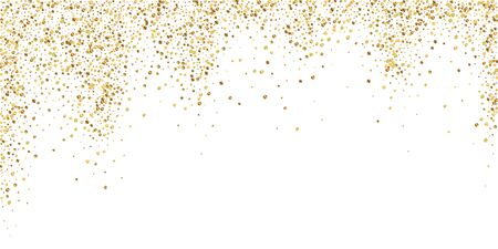Gold confetti luxury sparkling confetti. Scattered small gold particles on white background. Bizarre festive overlay template. Majestic vector illustration. Ilustrace