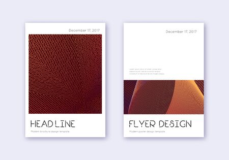 Minimal cover design template set. Orange abstract lines on wine red background. Delightful cover design. Sublime catalog, poster, book template etc.