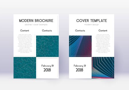 Business cover design template set. Red abstract lines on white blue background. Astonishing cover design. Remarkable catalog, poster, book template etc.