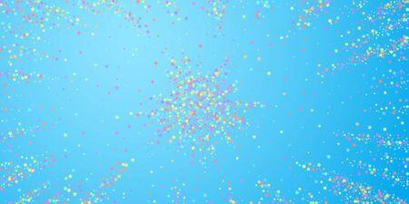 Festive confetti. Celebration stars. Colorful stars dense on blue sky background. Creative festive overlay template. Sublime vector illustration.