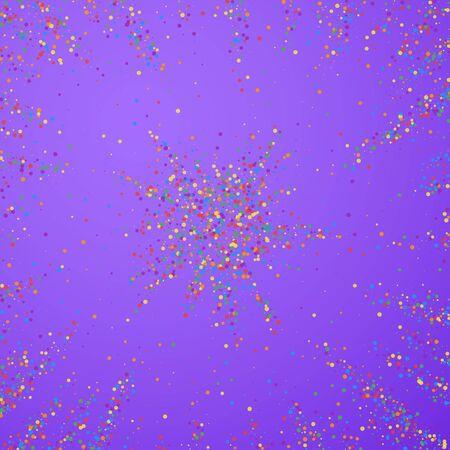 Festive confetti. Celebration stars. Colorful confetti on bright purple background. Brilliant festive overlay template. Astonishing vector illustration.