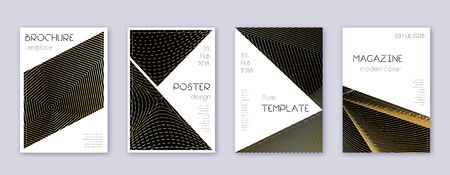 Triangle brochure design template set. Gold abstract lines on black background. Bold brochure design. Favorable catalog, poster, book template etc.