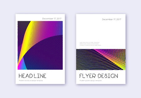Minimal cover design template set. Rainbow abstract lines on dark blue background. Divine cover design. Fetching catalog, poster, book template etc.