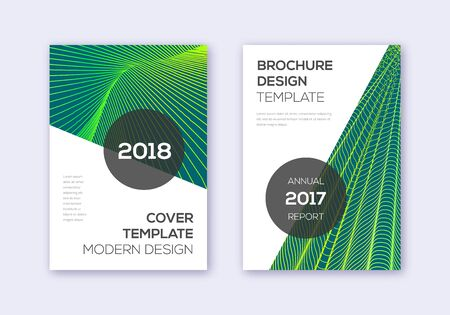 Modern cover design template set. Green abstract lines on dark background. Extra cover design. Tempting catalog, poster, book template etc.