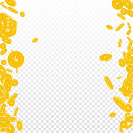 Chinese yuan coins falling. Scattered floating CNY coins on transparent background. Superb messy border vector illustration. Jackpot or success concept.