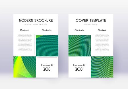 Business cover design template set. Green abstract lines on dark background. Appealing cover design. Resplendent catalog, poster, book template etc.