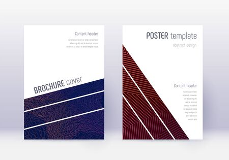 Geometric cover design template set. Violet abstract lines on dark background. Captivating cover design. Marvelous catalog, poster, book template etc.