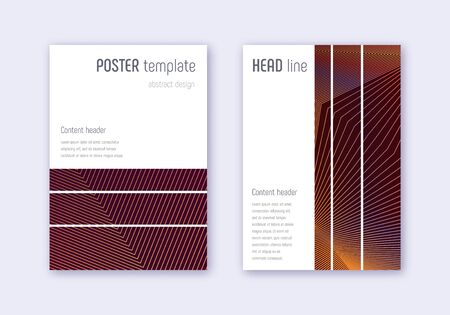 Geometric cover design template set. Orange abstract lines on wine red background. Bewitching cover design. Neat catalog, poster, book template etc.