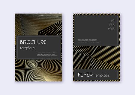 Black cover design template set. Gold abstract lines on black background. Alive cover design. Radiant catalog, poster, book template etc.