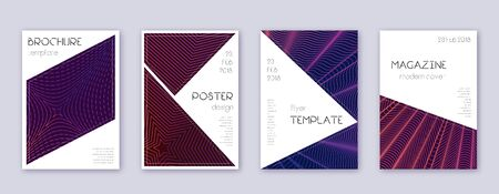 Triangle brochure design template set. Violet abstract lines on dark background. Breathtaking brochure design. Vibrant catalog, poster, book template etc.