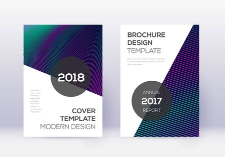 Modern cover design template set. Neon abstract lines on dark blue background. Extraordinary cover design. Exceptional catalog, poster, book template etc. Ilustracja
