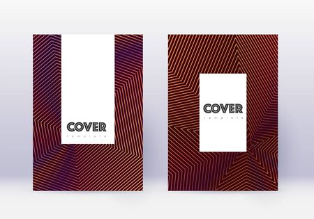 Hipster cover design template set. Orange abstract lines on wine red background. Classic cover design. Nice catalog, poster, book template etc.