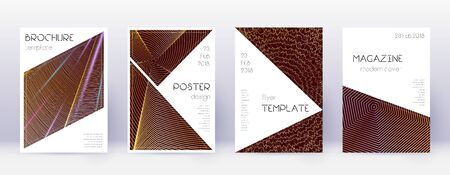 Triangle brochure design template set. Gold abstract lines on bordo background. Bold brochure design. Nice catalog, poster, book template etc. Ilustracja