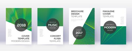 Modern brochure design template set. Green abstract lines on dark background. Awesome brochure design. Neat catalog, poster, book template etc. Ilustracja