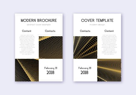 Business cover design template set. Gold abstract lines on black background. Appealing cover design. Captivating catalog, poster, book template etc.