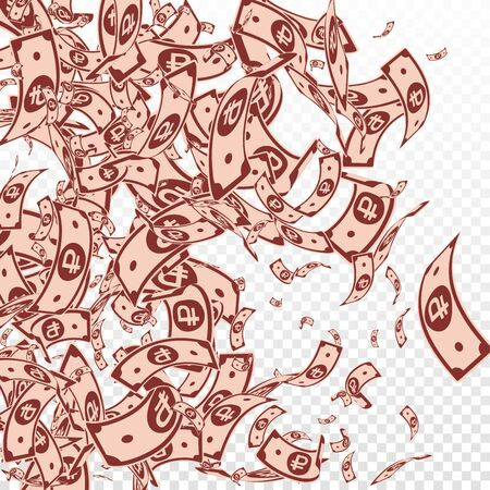 Russian ruble notes falling. Messy RUB bills on transparent background. Russia money. Bewitching vector illustration. Modern jackpot, wealth or success concept.
