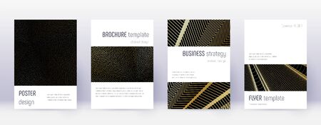 Minimalistic brochure design template set. Gold abstract lines on black background. Artistic brochure design. Terrific catalog, poster, book template etc. Ilustracja