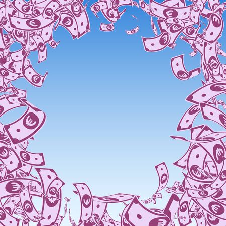 European Union Euro notes falling. Messy EUR bills on blue sky background. Europe money. Amusing vector illustration. Remarkable jackpot, wealth or success concept. Ilustracja