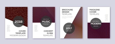 Modern brochure design template set. Gold abstract lines on bordo background. Awesome brochure design. Fabulous catalog, poster, book template etc. Ilustracja