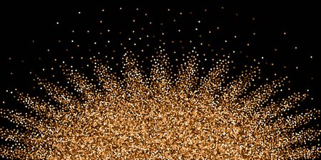 Red round gold glitter luxury sparkling confetti. Scattered small gold particles on black background. Authentic festive overlay template. Ravishing vector illustration.