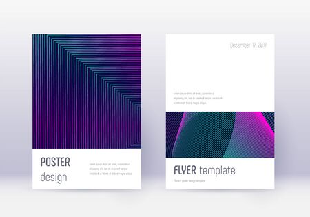 Minimalistic cover design template set. Neon abstract lines on dark blue background. Ecstatic cover design. Trending catalog, poster, book template etc.