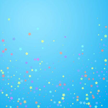 Festive confetti. Celebration stars. Colorful stars random on blue sky background. Charming festive overlay template. Awesome vector illustration.