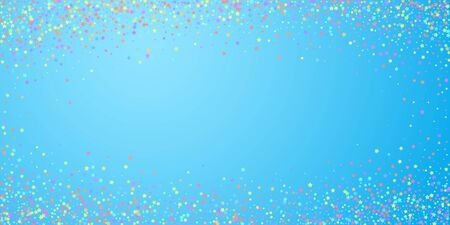 Festive confetti. Celebration stars. Colorful stars on blue sky background. Elegant festive overlay template. Comely vector illustration. Ilustrace