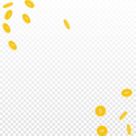Bitcoin, internet currency coins falling. Scattered sparse BTC coins on transparent background. Perfect scatter abstract corners vector illustration. Jackpot or success concept.