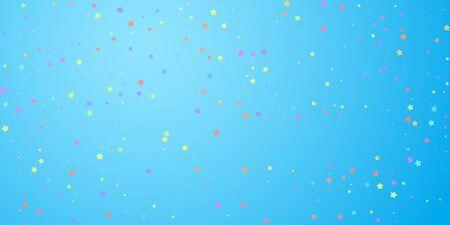 Festive confetti. Celebration stars. Colorful stars random on blue sky background. Delicate festive overlay template. Posh vector illustration. Ilustrace
