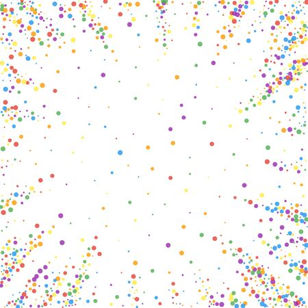 Festive confetti. Celebration stars. Joyous confetti on white background. Comely festive overlay template. Popular vector illustration.
