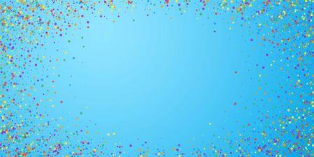 Festive confetti. Celebration stars. Joyous confetti on blue sky background. Elegant festive overlay template. Vibrant vector illustration.