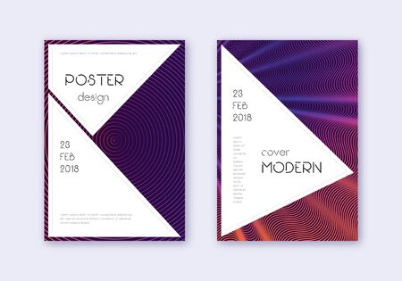 Stylish cover design template set. Violet abstract lines on dark background. Fascinating cover design. Nice catalog, poster, book template etc.