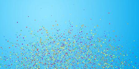 Festive confetti. Celebration stars. Rainbow confetti on blue sky background. Cute festive overlay template. Extra vector illustration. Ilustrace