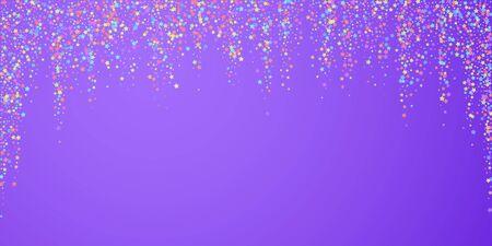 Festive confetti. Celebration stars. Colorful stars dense on bright purple background. Dazzling festive overlay template. Bold vector illustration. Ilustrace