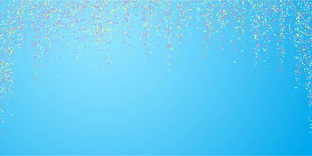 Festive confetti. Celebration stars. Colorful stars small on blue sky background. Dazzling festive overlay template. Comely vector illustration.
