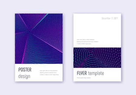 Minimalistic cover design template set. Neon abstract lines on dark blue background. Ecstatic cover design. Terrific catalog, poster, book template etc.