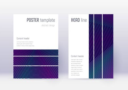 Geometric cover design template set. Neon abstract lines on dark blue background. Bewitching cover design. Divine catalog, poster, book template etc. Illustration