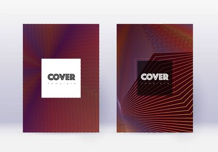 Hipster cover design template set. Orange abstract lines on wine red background. Creative cover design. Bewitching catalog, poster, book template etc.