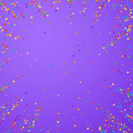 Festive confetti. Celebration stars. Joyous confetti on bright purple background. Comely festive overlay template. Pleasant vector illustration. Vettoriali