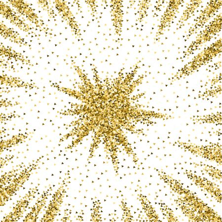 Gold triangles glitter luxury sparkling confetti. Scattered small gold particles on white background. Actual festive overlay template. Comely vector illustration.